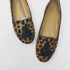 Nine West leather tassel leopard animal print Sz 7